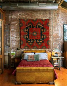 The brick wall; the textiles; the mustard yellow. The appeal here is both colour and the mix of textures