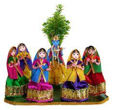 Raas Leela - Wire Doll - Cute Miniature Dolls (Wire, Cloth and Wool) Diy Diwali Decorations, Festival Decorations, Handmade Decorations, Flower Decorations, Diy Golu Dolls, Indiana, Janmashtami Decoration, Bunny Drawing, Diwali Diy