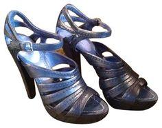Miu Miu Leather Heels Blue Pumps