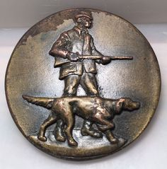 Vintage Hunter And Hunting Dog 1976 Indiana Metal Craft Belt Buckle   eBay