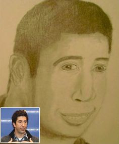 David Schwimmer, but also sort of Drake. - The Most Awful Pieces of Fan Art Ever Made Bad Fan Art, Fan Drawing, David Schwimmer, Crazy Fans, Celebrity Drawings, Just For Laughs, Master Class, My Drawings, Awesome