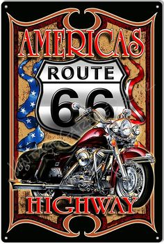 Create a Unique Garage Decor with our Metal Signs. This is a Route 66 - Americas Highway Custom Motorcycle Garage Shop Sign, from Steve McDonald artwork. Harley Davidson Engines, Harley Davidson Posters, Harley Davidson Wallpaper, Harley Davidson Bikes, Route 66 Theme, Route 66 Sign, Steve Mcdonald, Garage Art, Garage Shop