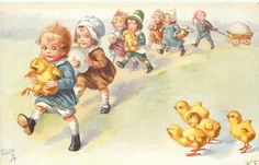 parade of children carrying chicks & eggs march front left,four chicks lower right observe  Wally Fialkowska