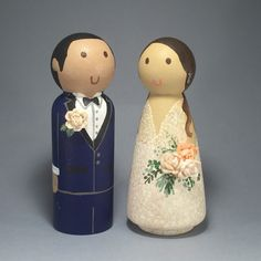 Wedding Wooden Peg Doll Cake Topper with 3D Accessories