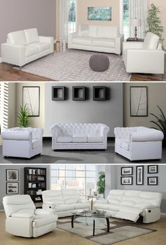3 Piece White Leather Sofa Set