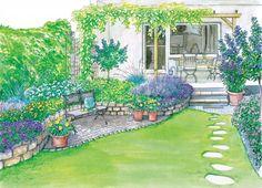 Reihenhausgarten mit Hochbeet