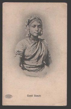 Tamil Beautiful Girl - Vintage Postcard - Old Indian Photos Photo Vintage, Look Vintage, Ancient Indian History, Indian Aesthetic, Vintage India, Orient, Vintage Postcards, Photo Postcards, Vintage Pictures