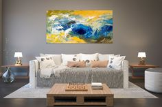 Items similar to Large Painting on Canvas,Original Painting on Canvas,modern wall canvas,abstract originals,huge canvas painting on Etsy Bright Paintings, Unique Paintings, Art Paintings, Abstract Paintings, Office Wall Art, Home Decor Wall Art, Hallway Art, Bedroom Decor, Master Bedroom