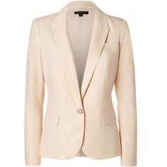 RACHEL ZOE Light Beige Twill Hanne Blazer (13 185 UAH) ❤ liked on Polyvore featuring outerwear, jackets, blazers, coats, beige blazer, twill blazer, long sleeve blazer, one button blazer and beige jacket