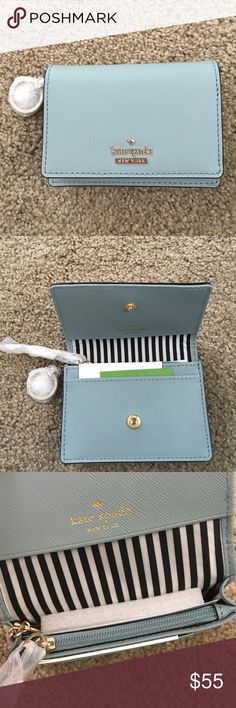 "NWT Kate Spade ""Cameron Street Becca"" Wallet Brand new light blue wallet with key chain and ID slot. Inside has 3card slots and one bigger slot and a zipped coin purse. kate spade Bags Wallets"