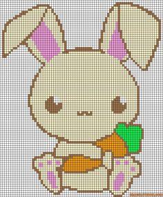 Kawaii Easter bunny perler bead pattern