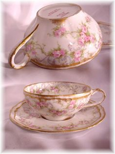ANTIQUE HAVILAND LIMOGES FRANCE 340 CUP AND SAUCER PINK ROSES DOUBLE GOLD (b)