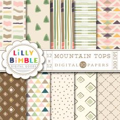 Lilly Bimble - Mountain Tops Tribal Geometric Digital Paper