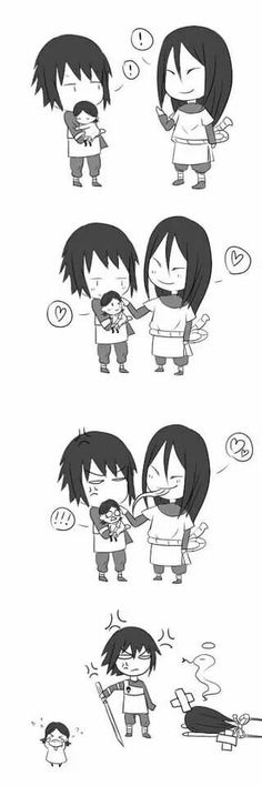 This is cute and funny. Sasuke beat Orochimaru for getting to close to his daughter. I would love to see this happen.