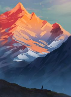 Saved onto Concepts & Illustrations Collection in Illustration Category Fantasy Landscape, Landscape Art, Fantasy Art, Landscape Illustration, Digital Illustration, Mountain Illustration, Wallpaper Animes, Minimalist Wallpaper, Art Inspo