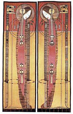 Margaret Macdonald Mackintosh (1865-1933) - Embroidered & Appliqued Panels. Circa 1902.