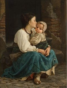 Title unknown; mother and child painting -- by Cecrope Barilli (Italian, 1839–1911)