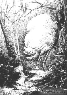 Illustration pour Alice au pays des merveilles, encre de chine par Arnaud de Vivies