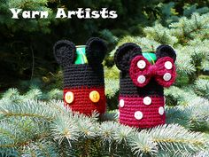 [Free Pattern] These Cool Mickey and Minnie Mouse Inspired Can Cozies Will Bring Disney World Into Your House! - Knit And Crochet Daily
