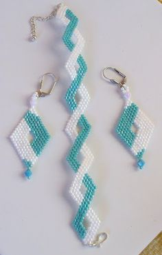Winter Chevron Style Bead Weaving Bracelet And Earrings Jewelry Set