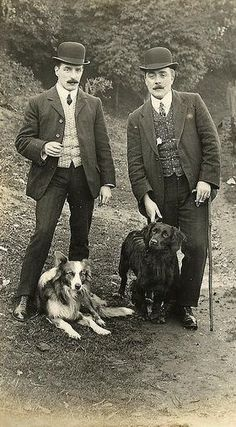 1907 moustaches with bowler hats and dogs