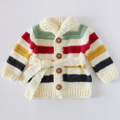 Crochet Hudson's Bay Baby SweaterThis crochet pattern / tutorial is available for free... Full Post: Crochet Baby Sweater