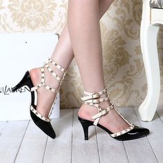 New 2014 Summer elegant Sandals high heel for women Fashion closed pointed toe rivets women's Pumps ladais shoes chaussure femme