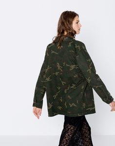 Pull N Bear, Military Jacket, Html, Jackets, Medium, Fashion, Being A Woman, Camouflage, Women