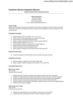 Sample Resume Form For A Customer Service Representative Page