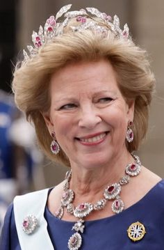 The Jewelry Vault: Queen Anne Marie of Greece in the ruby and diamond parure.