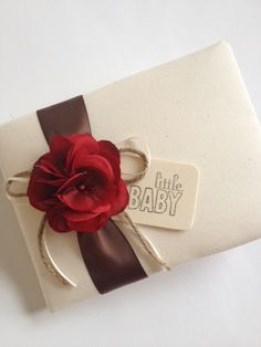 Baby Shower Guest Book, Red Hydrangeas, Chocolate Brown Ribbon - by CoutureLife, $48.99