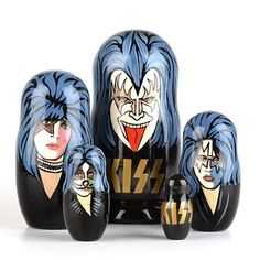 KISS Rock and Roll Nesting Dolls - Rock n Roll all night, with these Russian hand-crafted nesting dolls featuring the members of KISS. Gene Simmons's famous tongue, Paul Stanley's star makeup, and Peter Criss's whiskers are all depicted on these stunning glossy dolls. Certainly a unique gift for a rock music fan. Because each doll is hand-made, every Kiss Nesting Doll has its own uniqueness and may vary slightly from the one designed and pictured here.