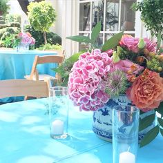Blue and white is just as pretty outside as it is on the inside. #JacksonDurham #EventDesign #FloralDesign #TexasParties #SummerFlowers