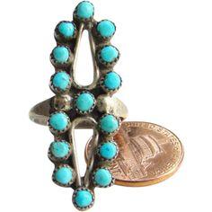 Zuni Style Snake Eye Turquoise Sterling Silver Ring Size 6.5 Indian Jewelry Boho Bohemian