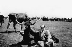 Ernest Hemingway with a bull, San Sebastian, Spain, Summer, 1927.With the Spanish Civil War in full swing by 1937 Hemingway returned to Spain and, like many writers, he also took the side of the Republicans. In Madrid, in 1940, Hemingway met Martha Gellhorn, a writer and wartime journalist, she became his third wife. For Whom the Bell Tolls is about a group of antifascist guerrillas who are charged with blowing up a bridge somewhere in Spain.