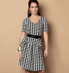 M6087... Misses' Dress     --- love that there's extra gathers in the skirt back!        ( possibly no skirt ride up when sitting)    --- add a bit extra yardage to lengthen the skirt a bit       (for modesty)     --- Do Not even consider houndstooth!!!  (look at the back!)