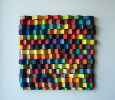 Ripples Rainbow / Original Modern Art /  3D Wall decoration / Wood / Acryl /  Shipping included