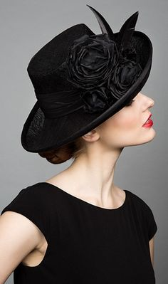 Rachel Trevor Morgan, S/S 2015. Black fine straw sidesweep hat with feather and roses. #passion4hats