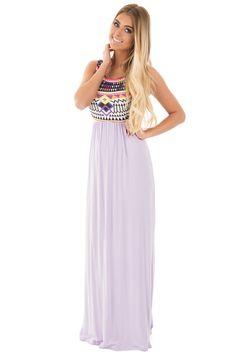 Lime Lush Boutique - Lavender Tribal Printed Maxi Dress, $38.99 (https://www.limelush.com/lavender-tribal-printed-maxi-dress/)