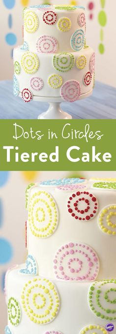 Dots in Circles Tiered Cake - The rainbow goes round and round on this lively fondant cake. Large and small circle cut-outs are decorated with colorful dots that bring excitement to any celebration like birthdays and anniversaries.