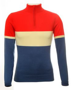 Red, ecru, blue 100% merino wool cycling jersey, perfect for the cold days, stay warm, keep cool!