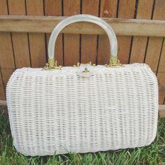 Vintage 60's White Wicker Handbag by matangi.etsy, via Flickr