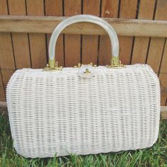 Vintage 60's White Wicker Handbag by matangi.etsy, via Flickr