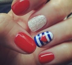 Heart   DIY July 4th Nails for Kids