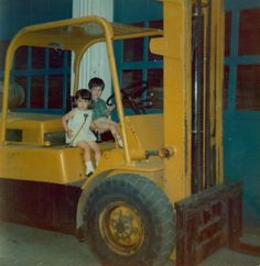 Rod Reader's son Jim, and daughter Mary on a forklift at our original site in Boston.