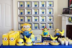 "Minion 4th Birthday | CatchMyParty.com. Love the background of paper plate minion ""portraits"" !"