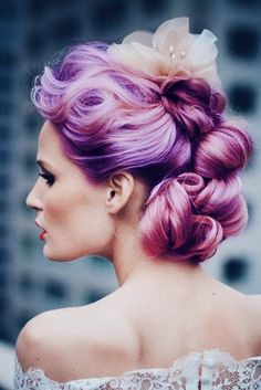 Purple wedding hair