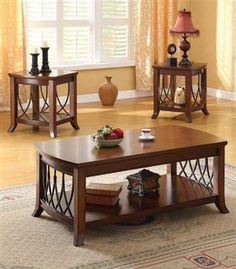 Aden Tobacco Wood 3Pc Pack Coffee/End Table Set