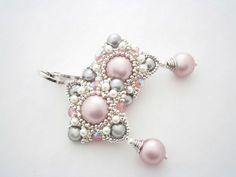 """We create beads and Swarovski crystals """"Coquette"""" Championship - handcrafted, handmade - Daily Good Pin Bride Earrings, Lace Earrings, Beaded Jewelry, Handmade Jewelry, Lace Bracelet, Baubles And Beads, Antique Lace, Bead Weaving, Swarovski Crystals"""