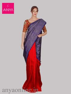 Anya boutique provides vanasingaram kanchipuram silk sarees in Coimbatore.  Blue and orange half and half pure kanchipuram silk saree.  #anya #anyaonline #vanasingaram #trendy #weddingsarees